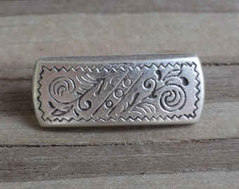 2 Rectangle Metal Buttons with Etched Pattern Antiqued Silver