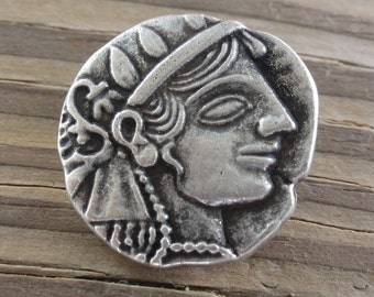 2 Metal Buttons - Julius Caesar - Antique Silver - 7/8 Inch with Shank