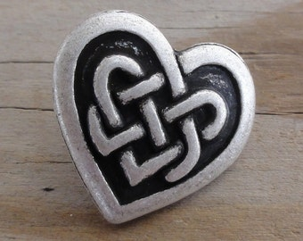2 Celtic Knot Heart Buttons - Antique Silver Metal Buttons with Shank