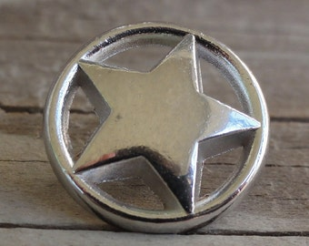 Star Buttons - Silver Metal Buttons with Shank - 3/4 Inch