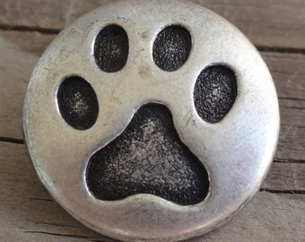 Paw Print Button - Metal Button - Antique Pewter - 3/4 Inch with Shank - 19mm - Silver - Cat - Dog