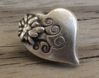 Petite Heart Metal Button with Flower Detail and Shank Back