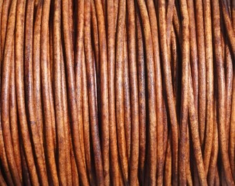 2mm Distressed Light Brown Leather Cord  -  Genuine Leather 2mm Round Cord Natural Dye
