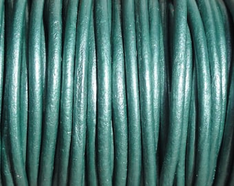 1.5mm Metallic Teal Leather Cord  -  Genuine Leather Round Cord, Turquoise
