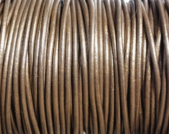 2mm Metallic Brown Leather Cord  -  Genuine Leather 2mm Round Cord Kansa