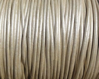 10 Yards 1mm Metallic Pearl White Genuine Leather Round Cord - 1.0mm