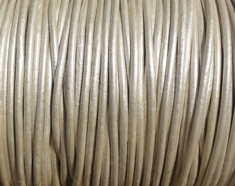 2mm Metallic Pearl Leather Cord - Metallic White Genuine Leather 2mm Round Cord