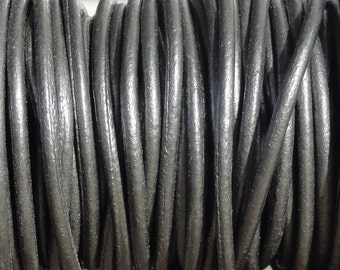 2mm Metallic Grey Leather Cord  -  Genuine Leather 2mm Round Cord - Silver - 2 Yard Increments