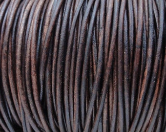 50 Meter (54.7 Yard) Spool Antique Brown Distressed 2mm Leather Cord Round Natural Dye