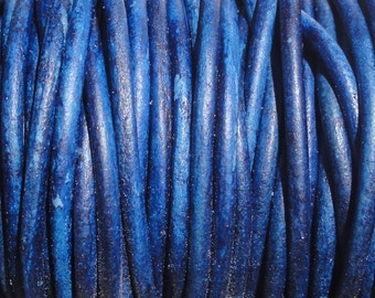 2 Yards 1.5mm Blue Natural Dye Genuine Leather Round Cord