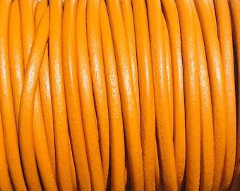 2 Yards Tahiti Orange Genuine Leather 2mm Round Cord