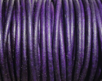 10 Yards Violet Purple Natural Dye Genuine Leather 2mm Round Cord