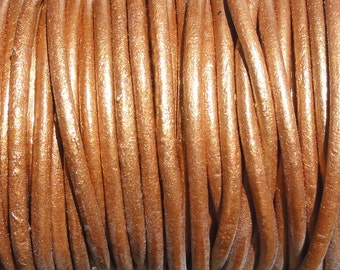 10 Yards Metallic Bronze Genuine Leather 2mm Round Cord