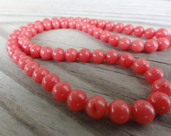 Pink Coral Mountain Jade 6mm Beads Round Smooth - 16 inch Full Strand