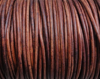 10 Yards 2mm Distressed Red Brown Genuine Leather 2mm Round Cord Natural Dye