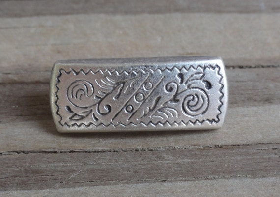 10 Rectangle Metal Buttons with Etched Pattern Antiqued Silver