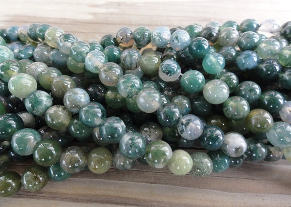 Green Moss Agate Beads 6mm Round Smooth Full Strand 16 inch