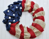 Fourth of July Burlap and Denim Wreath