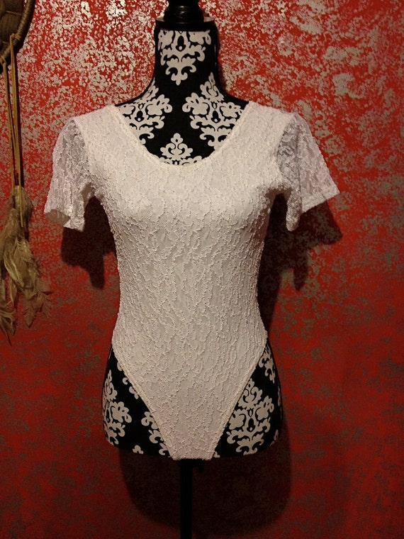 Vintage 90s White Lace Bodysuit Fredericks of Hollywood Deadstock