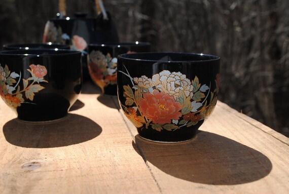 Black Ceramic Japanese Peony Pattern Tea Set Vintage never used