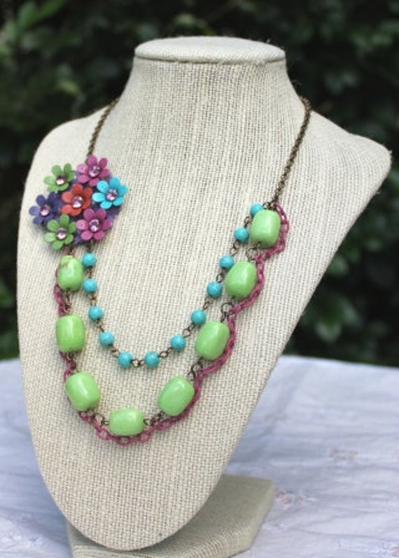 Colorful Flower Necklace Rhinestone Double Strand Blue Green Pink Jewelry