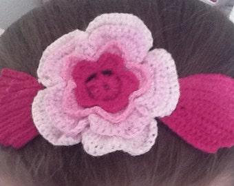 Pink Crochet Rose Headband