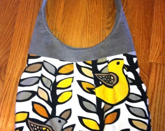 Large Pleated Canvas Shoulder Bag | Yellow and Grey Birds | Bird Purse | Bird Tote | Canvas Tote | Pleated Purse | Grey and yellow purse