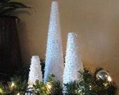 Modern Three White Christmas Tree Centerpiece