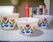 Fire King Tulip Splash Proof Bowls Set of 3 - Outstanding Condition
