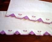 Vintage Pillowcases Embroidery Crochet Pair With Dainty Stitching Lavender Purple