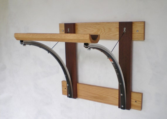 Bicycle Rack Reclaimed Wood and Recycled Bicycle Parts Bicycle Accessories