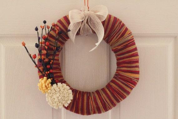 Clearance fall yarn wreath felt flowers 12 fall by sadiebeedesigns