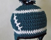 Crocheted baby football beanie  Philadelphia Eagles or Any Team, any size, any color