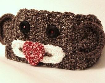 Crocheted Sock Monkey Headband