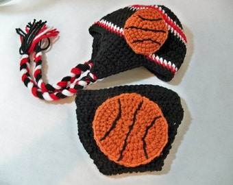 Crocheted basketball Beanie and Diaper Cover  Black Red and Gray