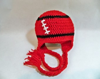 Crocheted baby football beanie Kansas City Chiefs Univ of Utah Any college team, any size, any color