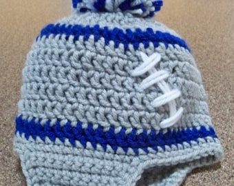 Crocheted Baby  Football Beanie with  Ear flaps Any Team any Color any Size