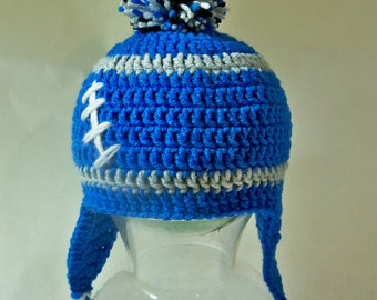 Crocheted baby toddler football beanie  Detroit Lions   Any team, any size, any color
