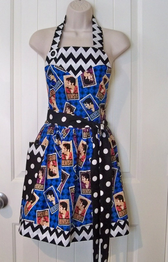 "Womens Legends Elvis Apron  ""A Little Bit of Modern with a Little Bit of Rock and Roll"