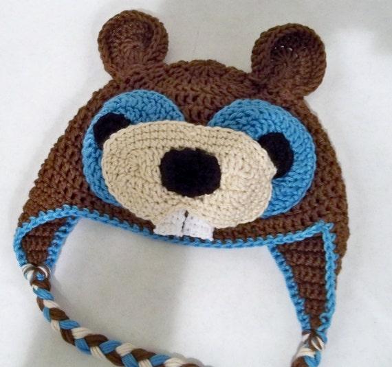 """Crocheted """"BEAVER FEVER"""" Baby Boy Beanie"""