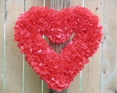 "FREE SHIPPING --- Ready to Ship --- 15"" Indoor/Outdoor Heart-Shaped Wreath --- Cherry Red"