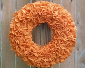 Fall Wreath --- Orange Wreath --- Fleece Wreath --- Door Wreath --- Indoor Wreath --- Pumpkin Wreath ---  Rag Wreath --- Autumn Wreath