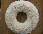 """Mid-Winter Clearance Sale --- 15"""" Indoor/Outdoor Wreath --- Buttercream"""