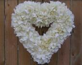 Heart Wreath -- Valentine's Wreath -- Light Yellow Wreath -- Winter Wreath -- Door Wreath -- Indoor Wreath -- Rag Wreath --- Cottage Wreath