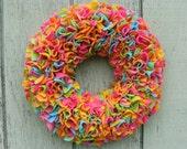 "Mid-Winter Clearance Sale --- 15"" Handmade Fleece Rag Wreath --- Tropical Punch --- Ready to Ship"