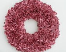 Gingham Wreath - Valentine's Wreath - Red and White Wreath - Country Wreath - Door Wreath - Indoor Wreath - Rag Wreath - Winter Wreath
