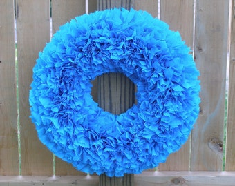 Cyber Monday - Blue Wreath --- Aqua Wreath --- Indoor Outdoor Wreath --- Door Wreath --- Outdoor Wreath --- Spring Wreath --- Summer Wreath