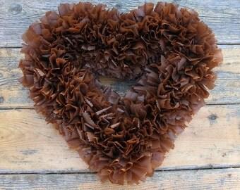 Heart Wreath --- Valentine's Wreath --- Brown Wreath --- Outdoor Wreath --- Door Wreath --- Indoor Outdoor Wreath --- Winter Wreath