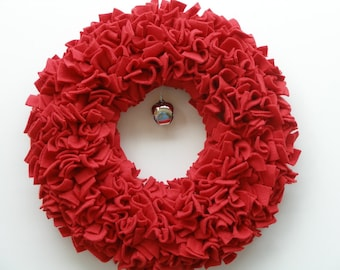 Christmas Wreath --- Red Wreath --- Fleece Wreath --- Door Wreath --- Indoor Wreath --- Holiday Wreath --- Rag Wreath --- Winter Wreath