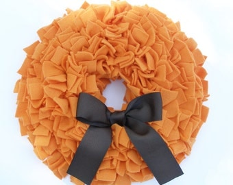 Cyber Monday - Thanksgiving Wreath - Fall Wreath - Orange Wreath - Fleece Wreath - Door Wreath - Pumpkin Wreath - Rag Wreath - Autumn Wreath